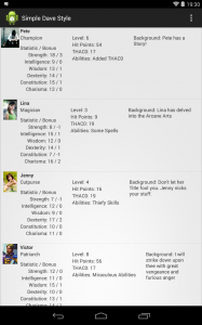 Character Sheet App